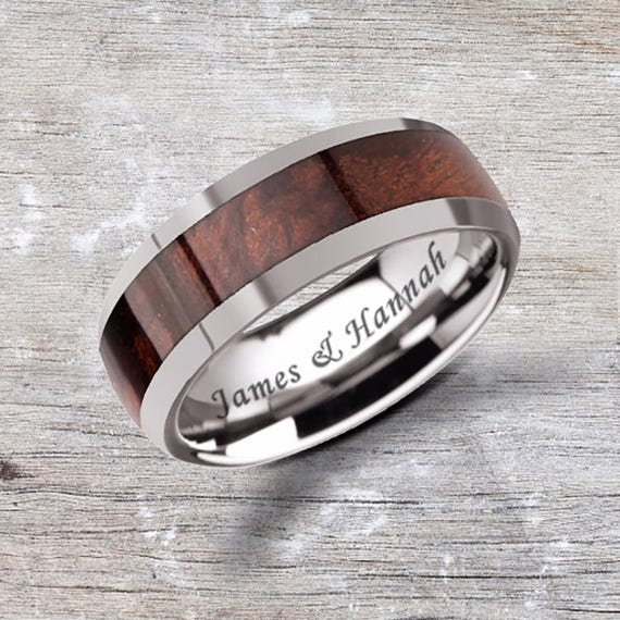 Custom Personalized Engraved Domed Red Wood Inlay  Ring - 8mm Available - Lifetime Size Exchanges