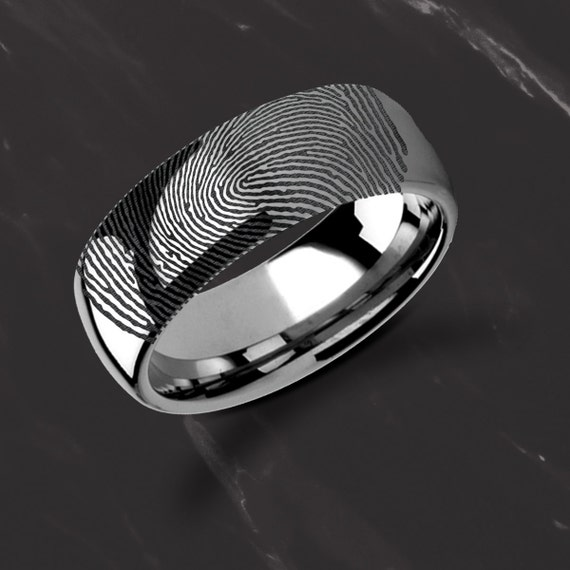 Actual Fingerprint Ring Tungsten Carbide Engraved Wedding Band Domed and Polished - 4mm to 12mm Available - Lifetime Size Exchanges