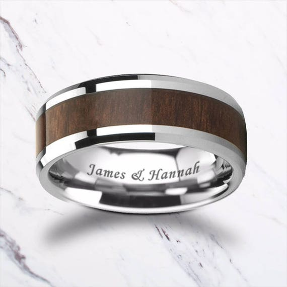 Custom Personalized Engraved Bevel Edged Black Walnut Wood Inlay Tungsten Carbide Ring - 4mm - 12mm Available - Lifetime Size Exchanges