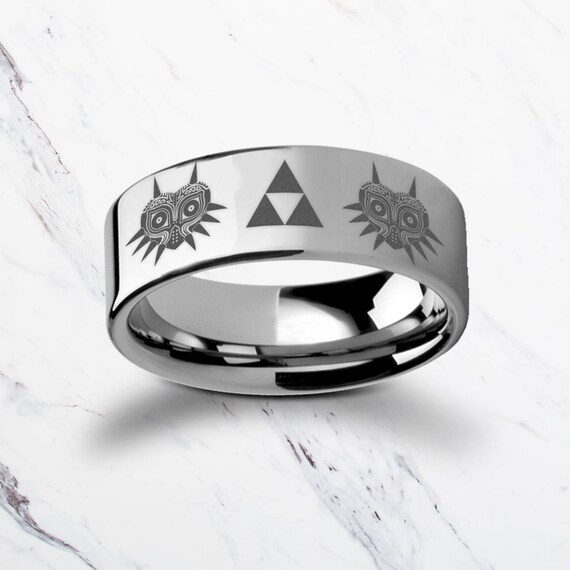 Engraved The Legend of Zelda Majora's Mask Triforce Tungsten Ring Flat Polished Finish - 4mm to 12mm - Lifetime Size Exchanges