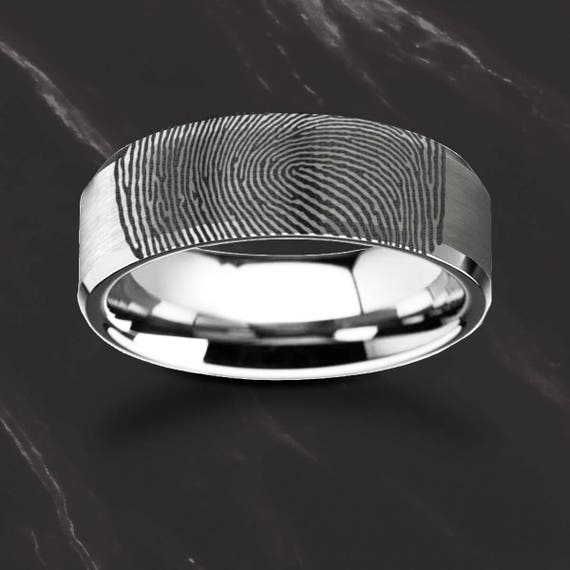 Actual Fingerprint Ring Tungsten Engraved Wedding Band Brushed Center and Polished Bevels - 4mm - 12mm Available - Lifetime Size Exchanges