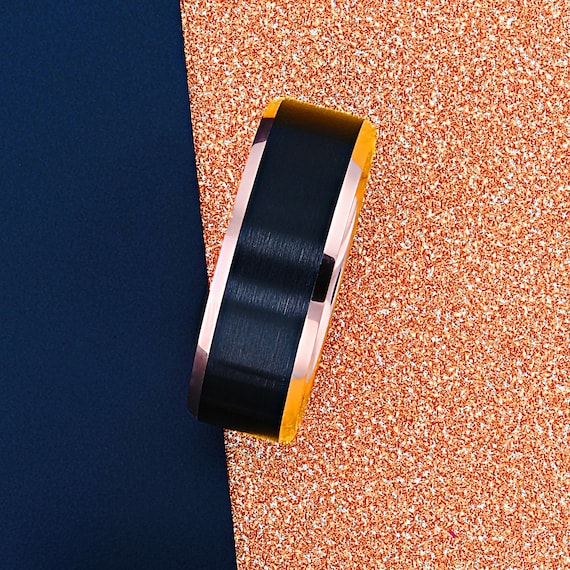 Personalized Engraved Matte Brushed Black and Rose Gold Plated Beveled Edge Tungsten Carbide Ring - 8mm Available - Lifetime Size Exchanges