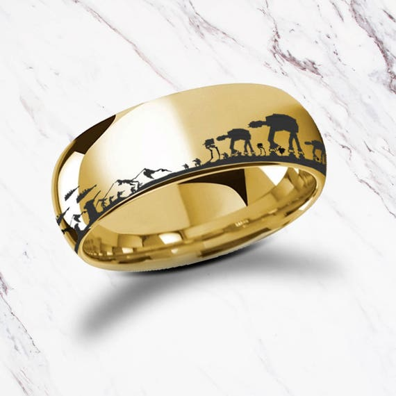 Engraved Star Wars Battle of the Hoth Scene ATAT ATST Yellow Gold Plated Tungsten Ring - 4mm to 8mm Available - Lifetime Size Exchanges