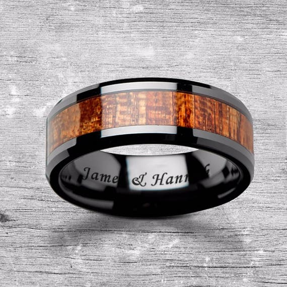 Custom Personalized Engraved Beveled Edge African Sapele Wood Inlay Black Ceramic Ring - 6mm - 10mm Available - Lifetime Size Exchanges