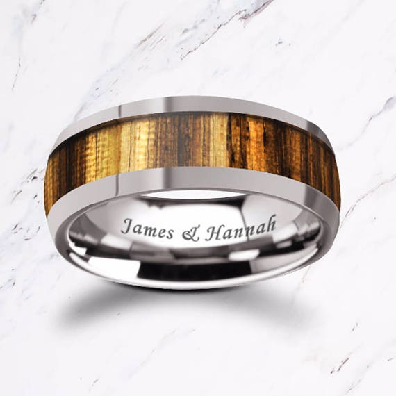 Custom Personalized Engraved Domed Zebra Wood Inlay Tungsten Carbide Ring - 8mm Available - Lifetime Size Exchanges