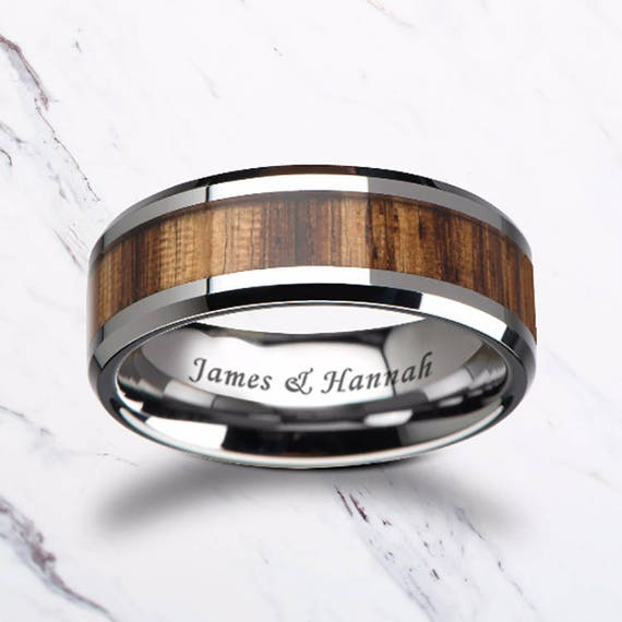 Custom Personalized Engraved Beveled Zebra Wood Inlay Tungsten Carbide Ring - 4mm - 10mm Available - Lifetime Size Exchanges