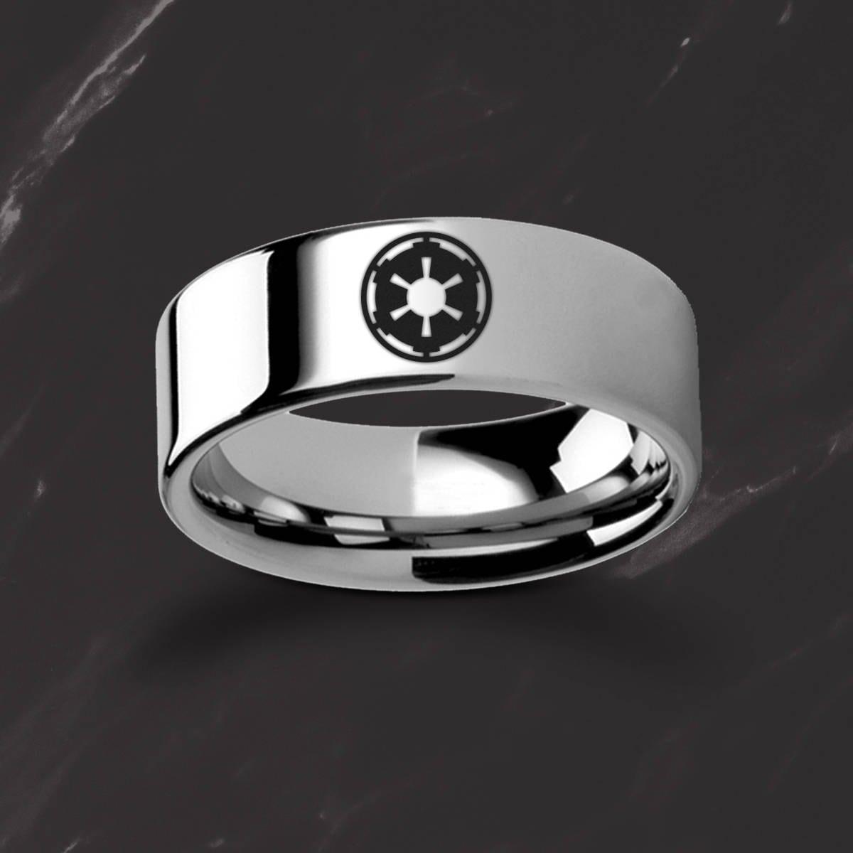 Engraved Star Wars Sith Imperial Emblem Symbol Tungsten Ring Flat
