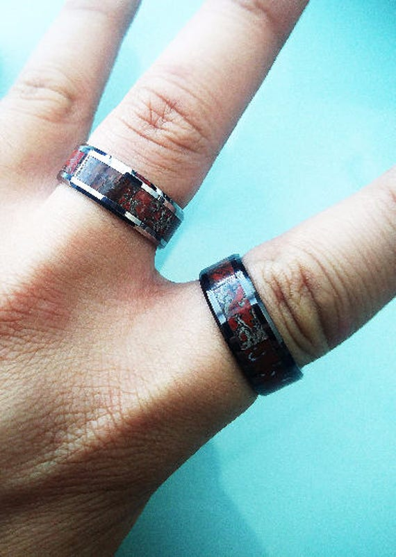 Red Dinosaur Bone Engraved Bevel Edged Real Inlay Tungsten Carbide Ring - 8mm Available - Lifetime Size Exchanges