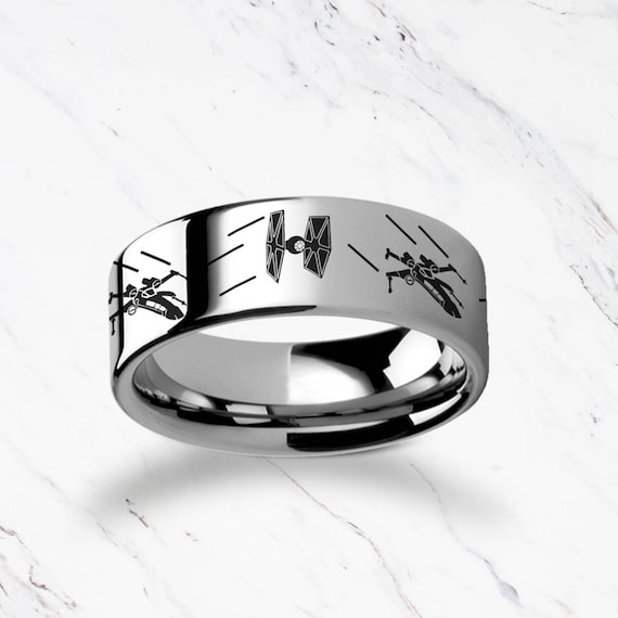 Engraved Star Wars Tie Starfighter X-Wing Design Tungsten Ring Flat and Polished - 4mm to 12mm Available - Lifetime Size Exchanges