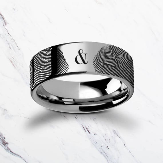 Actual Fingerprint Couple Set Ampersand Tungsten Carbide Engraved Wedding Band Flat and Polished - 4mm to 12mm - Lifetime Size Exchanges