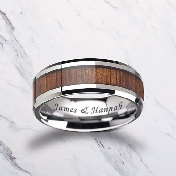 Custom Personalized Engraved Beveled Edge Hawaiin Koa Wood Inlay Tungsten Carbide Ring - 4mm - 12mm Available - Lifetime Size Exchanges