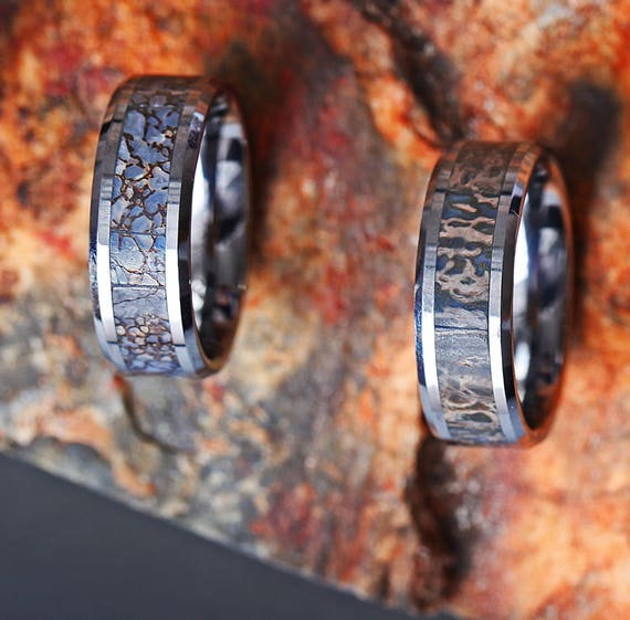 Blue Dinosaur Bone Engraved Bevel Edged Real Inlay Tungsten Carbide Ring - 8mm Available - Lifetime Size Exchanges