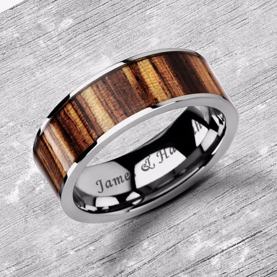 Custom Personalized Engraved Flat Zebra Wood Inlay Tungsten Carbide Ring - 8mm Available - Lifetime Size Exchanges