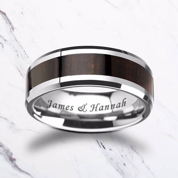 Custom Personalized Engraved Beveled Ebony Wood Inlay Tungsten Carbide Ring - 8mm Available - Lifetime Size Exchanges