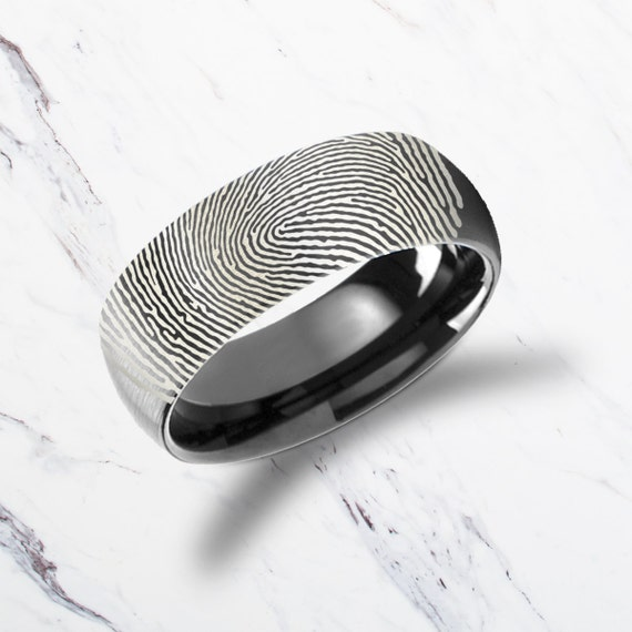 Actual Fingerprint Ring Black Tungsten Carbide Engraved Wedding Band Domed and Brushed - 4mm to 12mm Available - Lifetime Size Exchanges