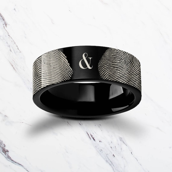 Fingerprint Couple Set Ampersand Ring Black Tungsten Carbide Engraved Wedding Band Flat and Brushed - 4mm to 12mm - Lifetime Size Exchanges
