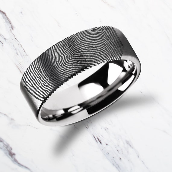 Actual Fingerprint Ring Tungsten Carbide Engraved Wedding Band Flat and Brushed - 4mm to 12mm Available - Lifetime Size Exchanges