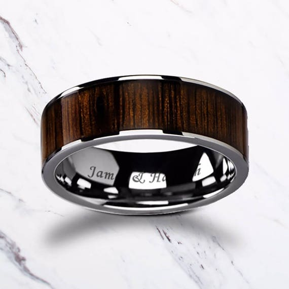 Custom Personalized Engraved Flat Black Walnut Wood Inlay Tungsten Carbide Ring - 8mm Available - Lifetime Size Exchanges
