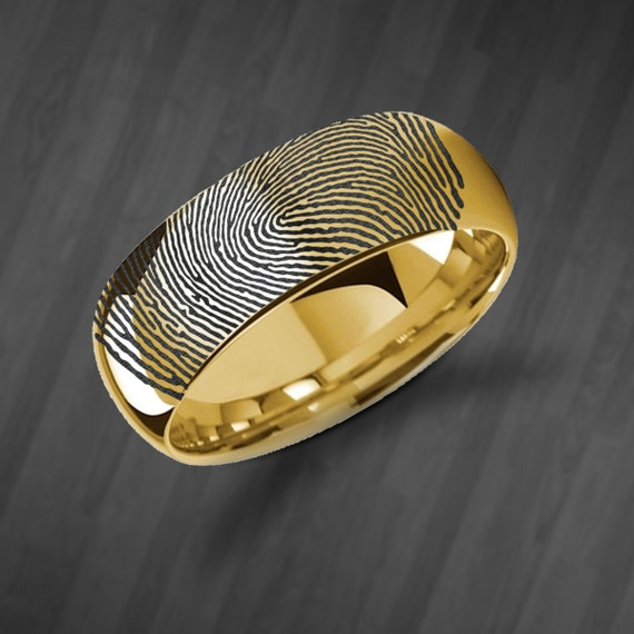 Actual Fingerprint Ring Yellow Gold Plated Tungsten Ring Engraved Wedding Band Polished and Domed - 4mm to 8mm - Lifetime Size Exchanges
