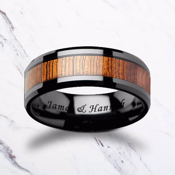 Custom Personalized Engraved Beveled Edge Hawaiin Koa Wood Inlay Black Ceramic Ring - 4mm - 12mm Available - Lifetime Size Exchanges