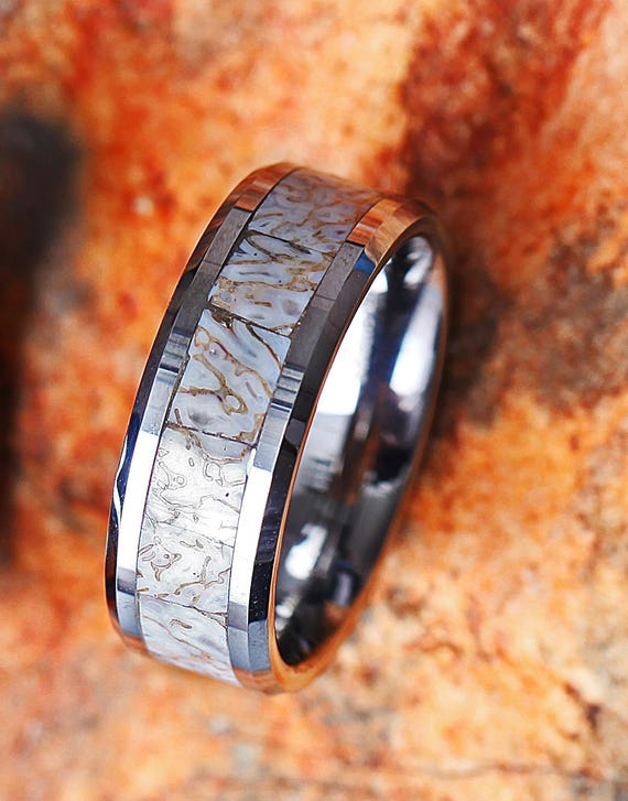 White Dinosaur Bone Engraved Bevel Edged Real Inlay Tungsten Carbide Ring - 8mm Available - Lifetime Size Exchanges