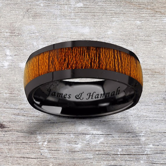 Custom Personalized Engraved Domed Mahogany Wood Inlay Black Ceramic Ring - 8mm Available - Lifetime Size Exchanges