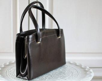 Brown vintage purse, mid century handbag, short handle kisslock clip dark brown evening bag, patent lady handbag, 1960s retro bag original20