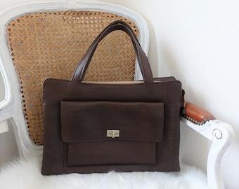 Brown handbag, 1960s vintage short handle bag, sixties purse from the Netherlands