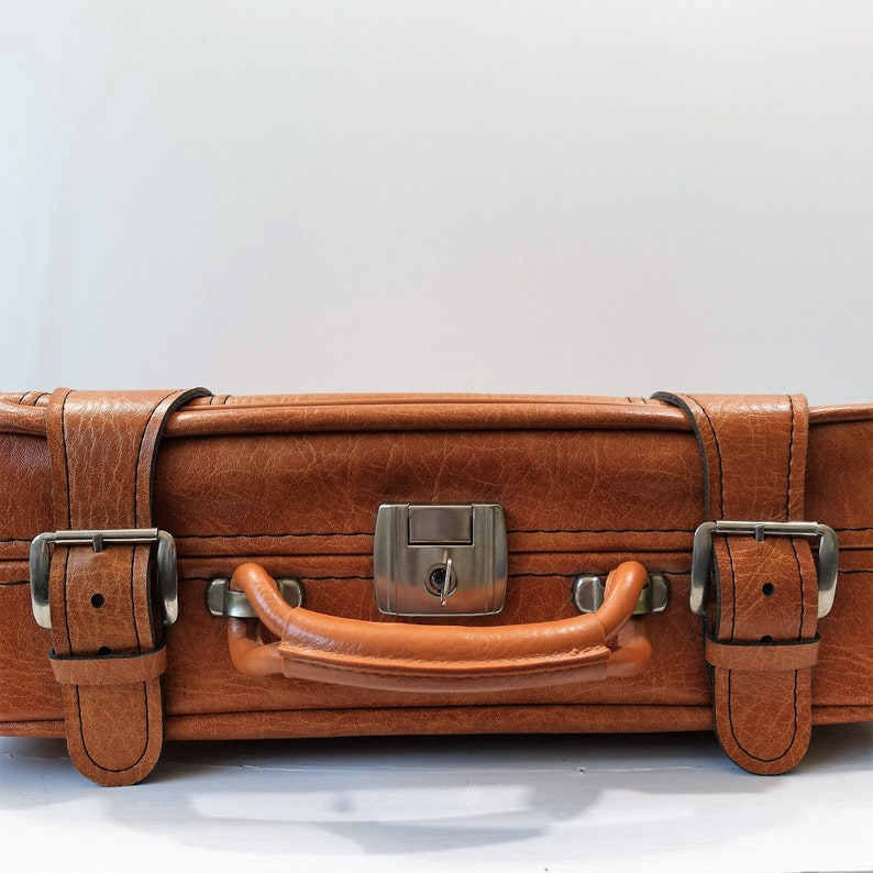 travel bag Vintage suitcase cognac brown 1960s mod vintage luggage briefcase with key
