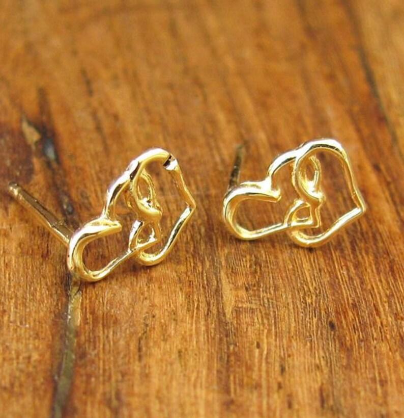 0af6cefb6a5c Pendientes oro pendientes corazón aretes de oro de llenadas