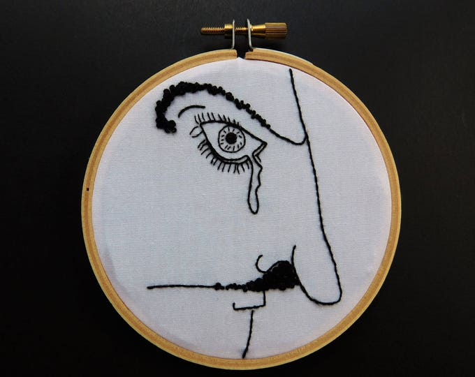 Vonnegut Self Portrait Hand Embroidery