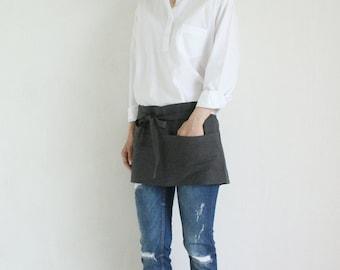 Linen Short Tool Apron,Charcoal
