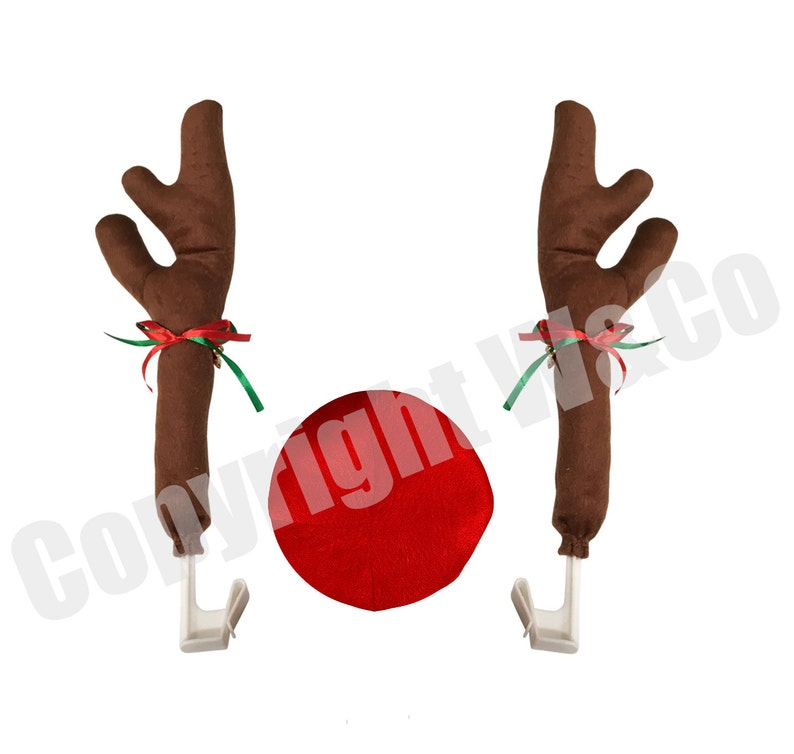 W/&Co Car Reindeer with Jingle Bells Costume Reindeer Christmas Car Character Kit Party Accessory