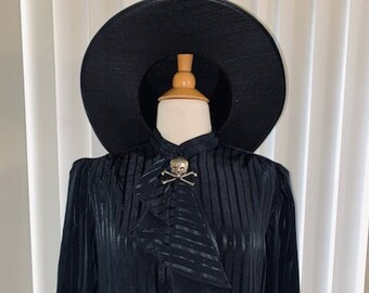 Vintage 1980's Goth Witch Black on Black Pinstripe Dash Embossed Ruffle Front Long Sleeve Button Cuff Blouse Sz L