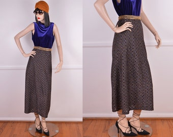 70s Metallic Diamond Pattern Mesh A-Line Skirt/ Vintage / Multi Color