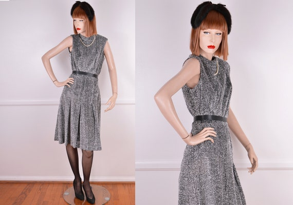 60s Sparkly Silver Tinsel Mock Neck Dress