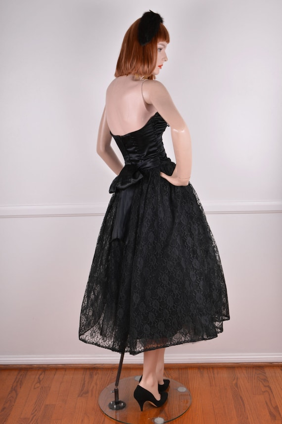 80s Does 50s Strapless Sweetheart Neckline Black … - image 5
