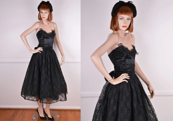 80s Does 50s Strapless Sweetheart Neckline Black … - image 1