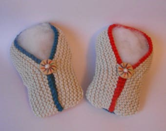 Two-tone beige, blue and Red kimono slippers