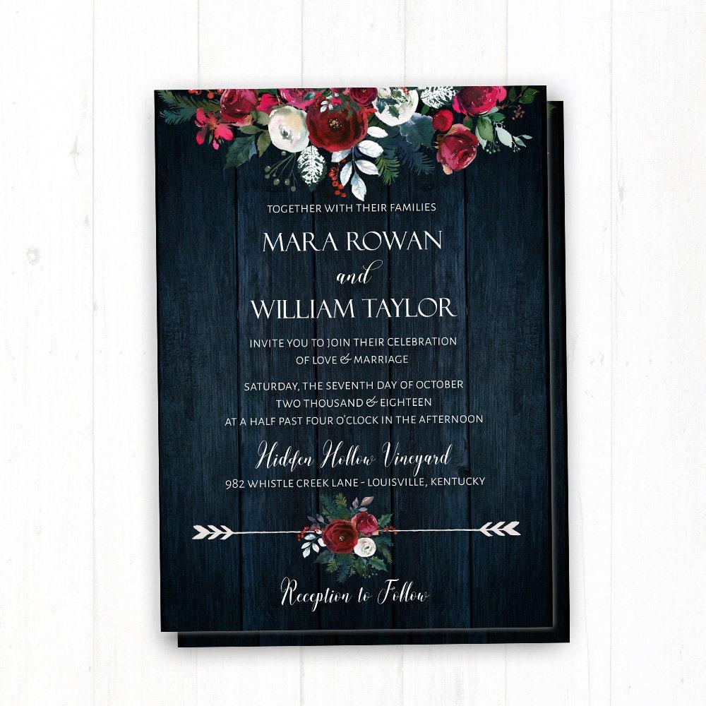 Navy Wedding Invitation: Rustic Navy Winter Wedding Invitation Christmas Wedding