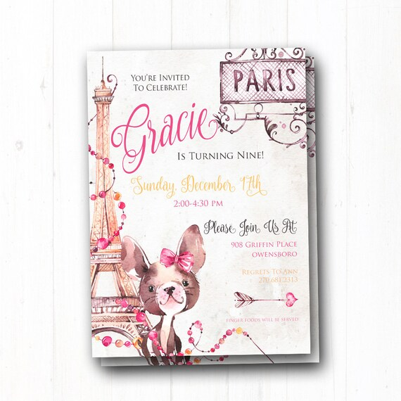 Paris Birthday Invitation Girl 1st Eiffel Tower