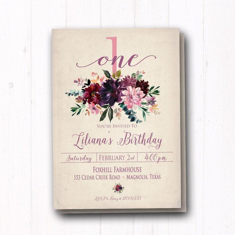 Woodland Floral Birthday Party Invitations Vintage Purple
