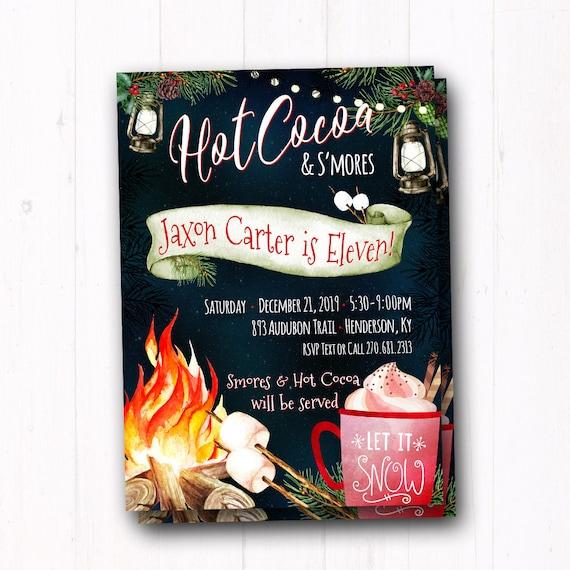 winter bonfire birthday invitation kids christmas party invite