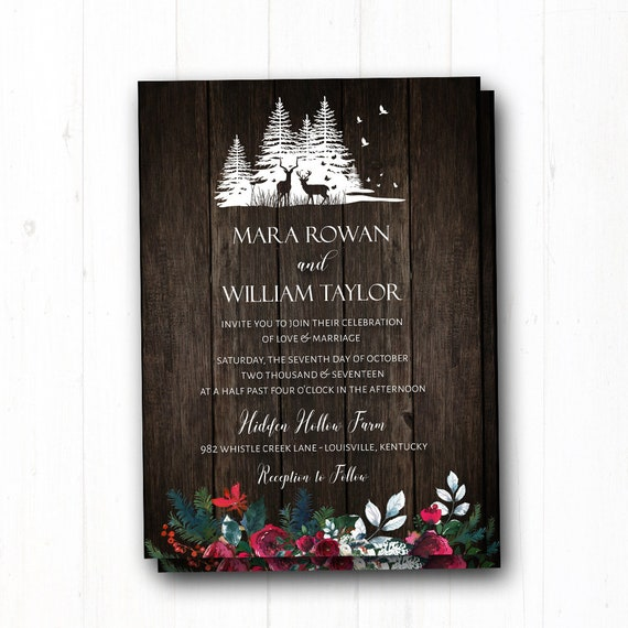 Rustic Winter Wedding Invitation Christmas Wedding Invite