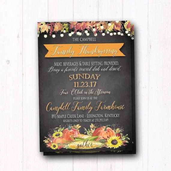 Automne Invitation Cousinade Thanksgiving Dîner Inviter église De Campagne Rustique Dîner Citrouilles Tournesols Feuilles Planche à La Craie