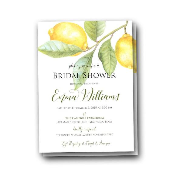 Lemon Bridal Shower Invitations Bridal Brunch Botanical