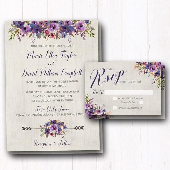 Purple Wedding Invitation Rustic Wedding Invites Violet Etsy