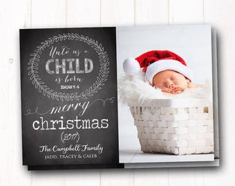 Baby Christmas Photo Card - Christmas Baby Announcement - Farmhouse - Holiday Greeting - Printed Cards - FREE SHIPPING - RUSH available!