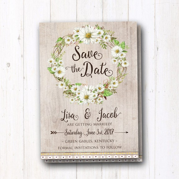 save the date with daisies rustic wedding daisy boho wedding