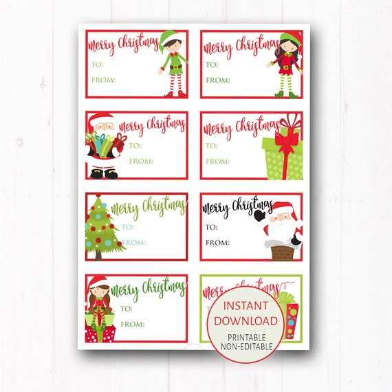Kids Christmas Gift Tags 2x3 Printable Tags Or Holiday Stickers